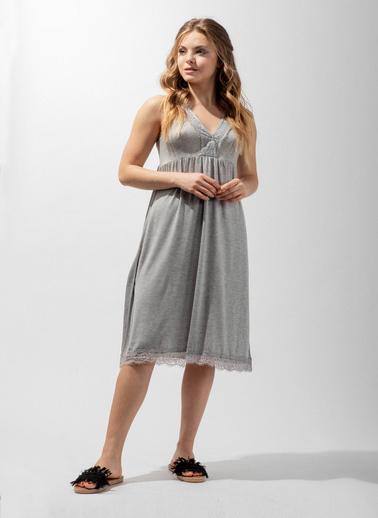 Katia & Bony Silver Line Lace Kadın Gecelik  Gri